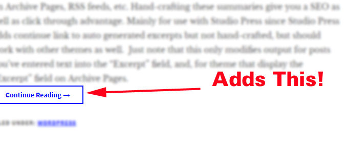 WordPress Continue Reading Link Plugin for Excerpts