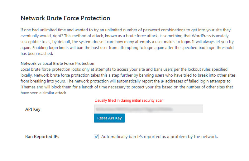 iThemes Security Network Brute Force Protection Settings