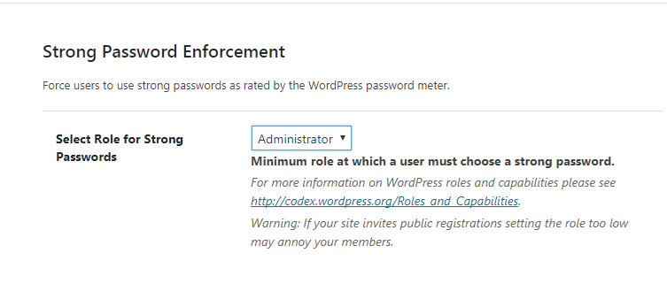 iThemes Security Strong Password Enforcement Settings